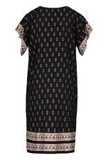 Tribal Black/Gold Flutter Sleeve Dress w/Tassels