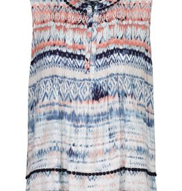 Tribal Navy/Coral Print Tank w/Pleating