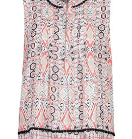 Tribal Coral/Tan Print Tank w/Pleating