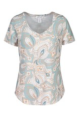 Tribal Blue/Orange/White Paisley Print V-Neck Short Sleeve Top