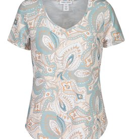 Tribal Blue/Orange/White Paisley Print V-Neck Short Sleeve Top
