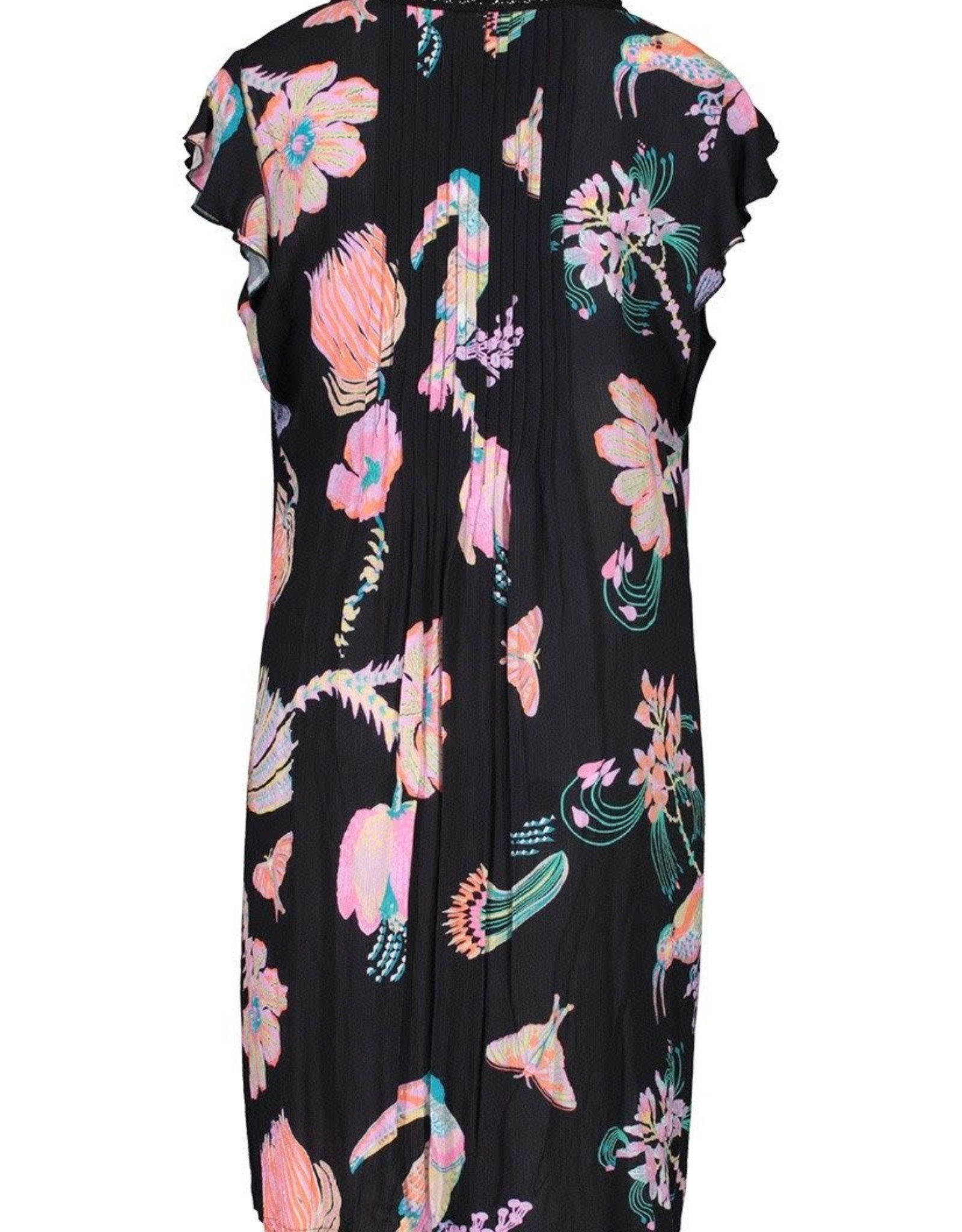 Tribal Black/Pink Tropical Print Dress w/Flutter Sleeve