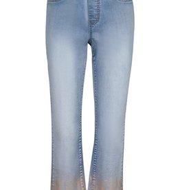 Tribal Light Wash Pull-On Straight Leg Jean w/Gold Foil Print