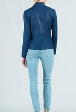 - Navy Liquid Leather Jacket