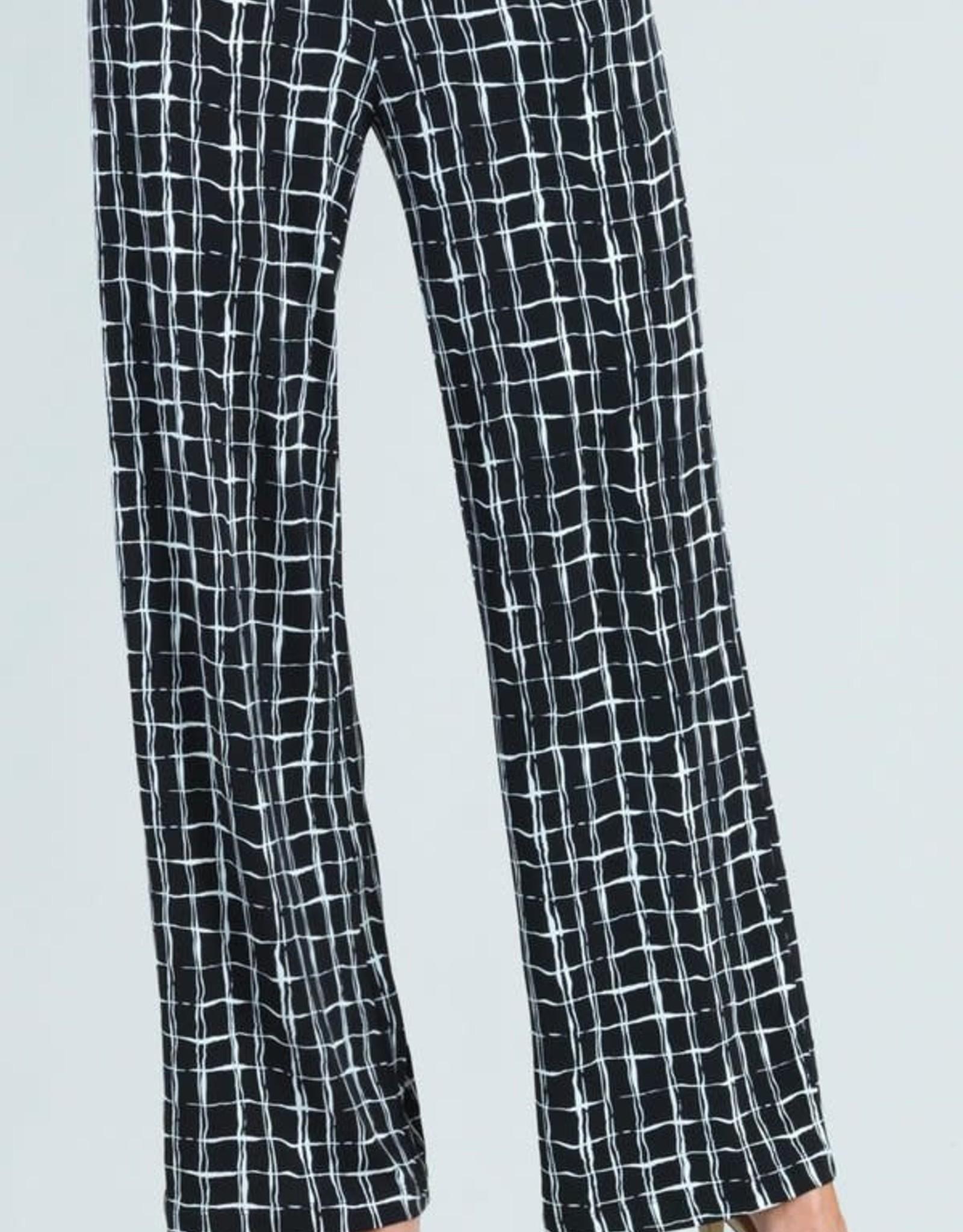 - Black/White Geo Print Straight Leg Pull-On Pant
