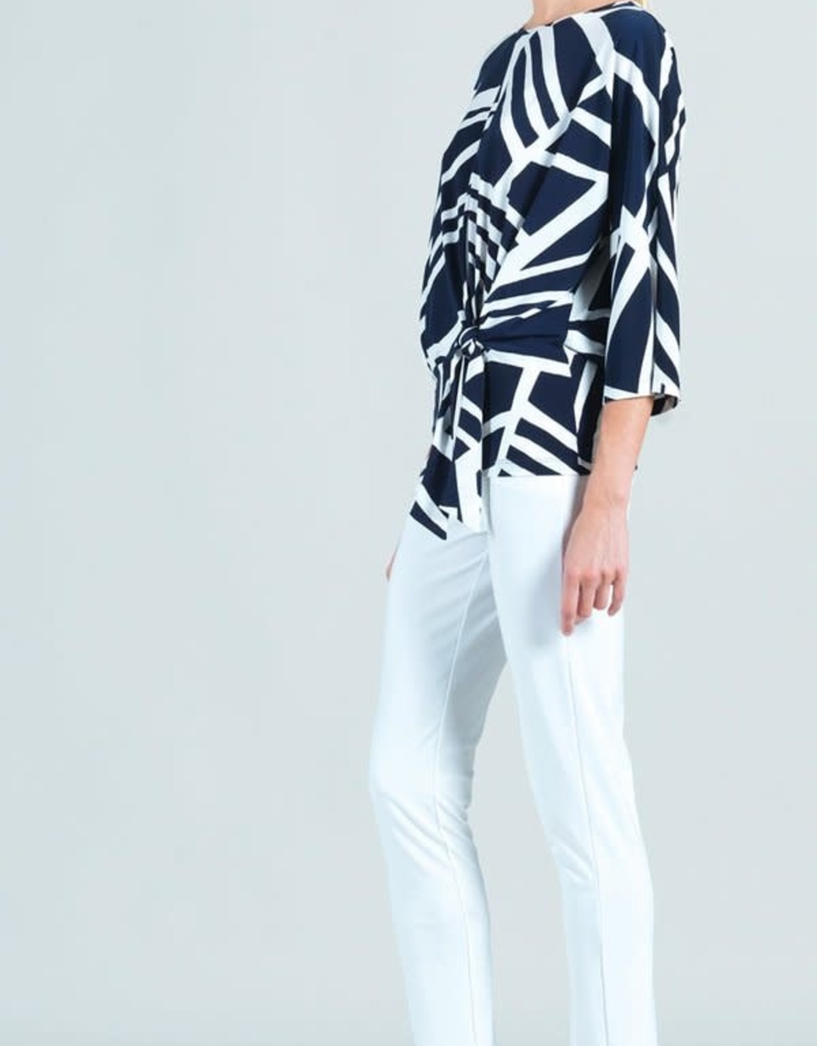 - Navy/White Zig Zag Stripe 3/4 Sleeve Top w/Side Tie