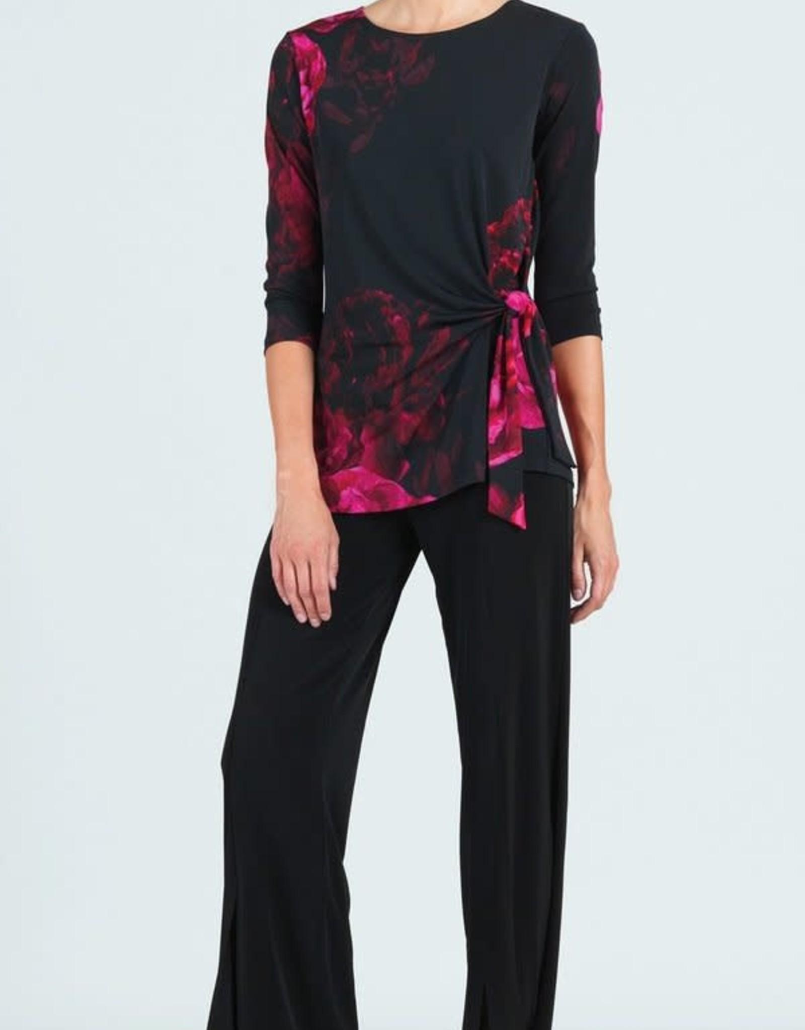 - Peony Print 3/4 Sleeve Tunic w/Side Tie