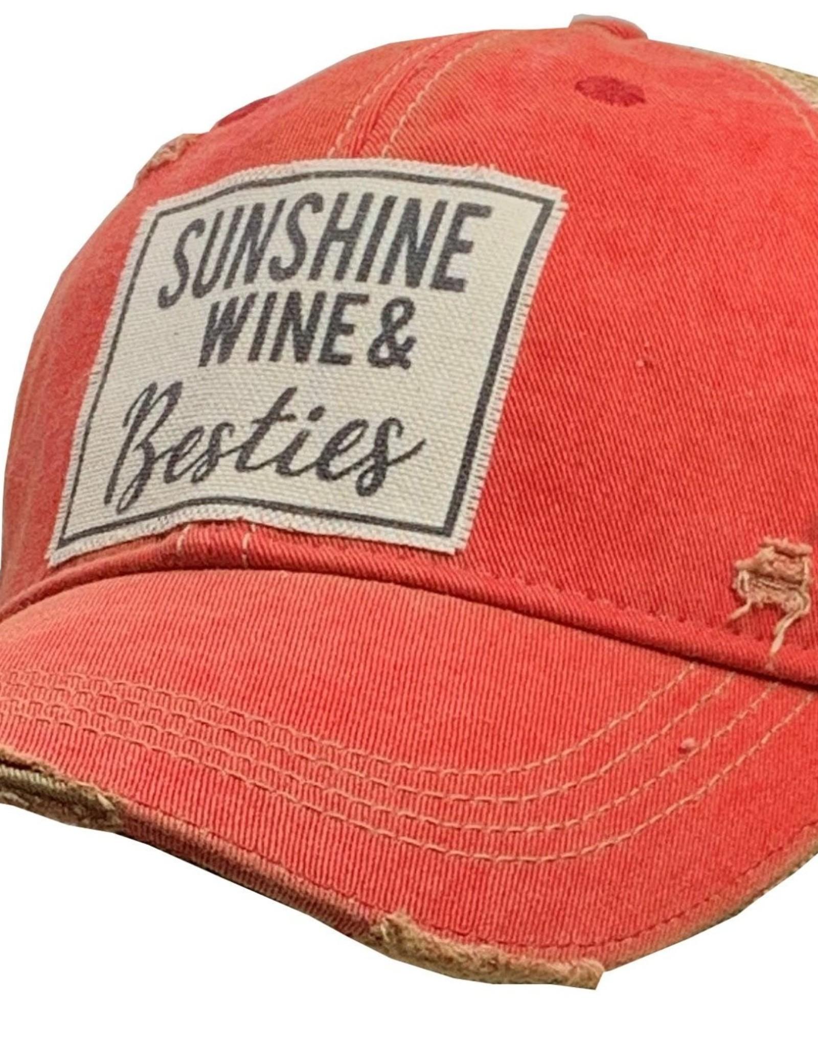 """- Light Red """"Sunshine, Wine, & Besties"""" Baseball Cap"""
