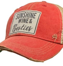 "- Light Red ""Sunshine, Wine, & Besties"" Baseball Cap"