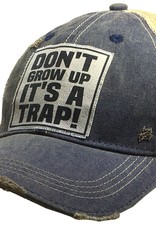 "- Navy ""Don't Grow Up It's A Trap"" Baseball Cap"