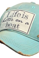 "- Teal ""Life is Better on a Boat"" Baseball Cap"