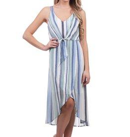 - Blue Striped Tank Dress w/Front Tie