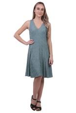 - Aqua Metallic A-Line Panel Swing Tank Dress
