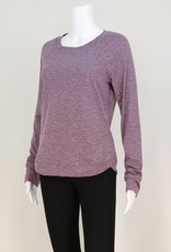 - Lavender Cross Over Rounded Hem Long Sleeve Top