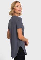 Joseph Ribkoff Smokey Grey T-Shirt w/Scoop Hem