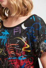 Joseph Ribkoff Black Multi Print Top w/Bling Detail