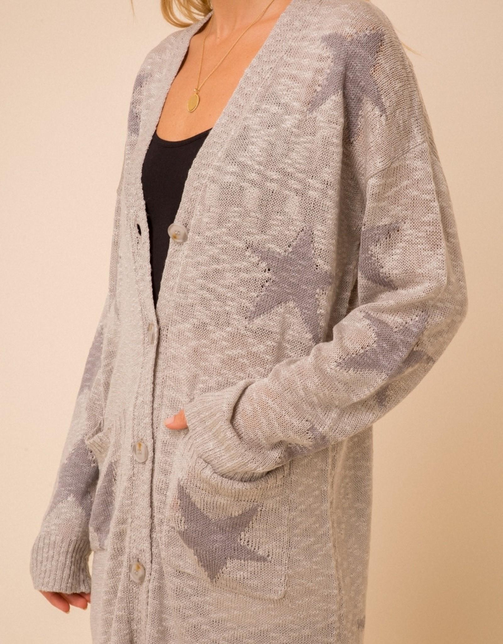 - Grey Star Duster Length Cardigan w pockets