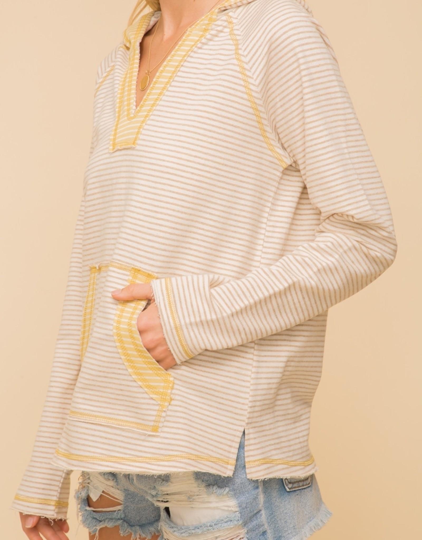 - Mustard Striped Color Block Pocket Hoodie