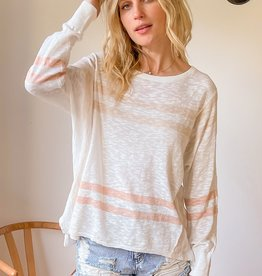 - Oversized Peach Stripe Lightweight Sweater