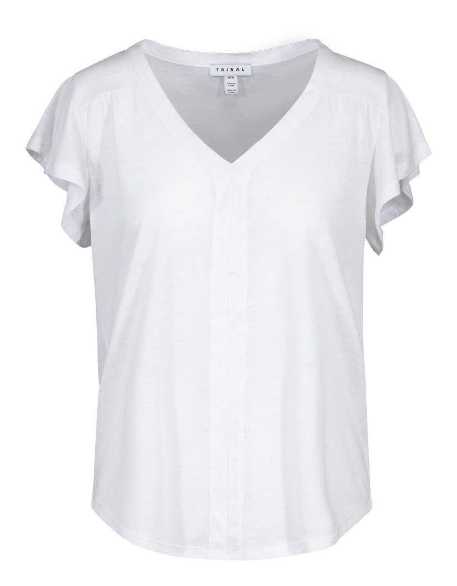 Tribal White Tinsel Ruffle Sleeve V Neck Short Sleeve Top