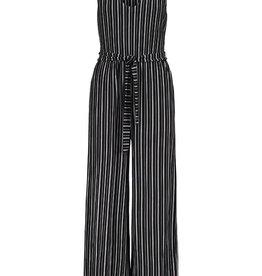 Tribal Black/White Stripe Jumpsuit w/Tie Belt