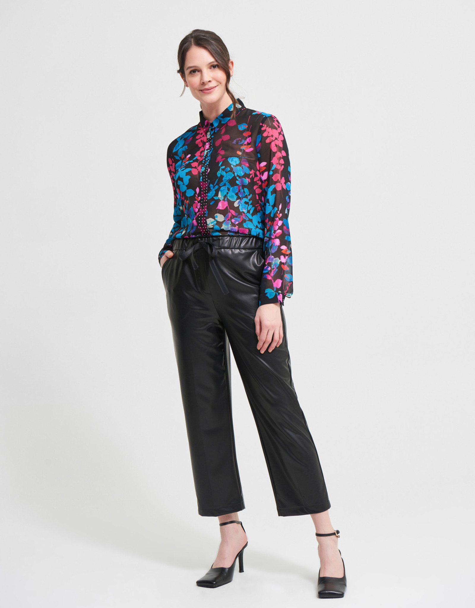 Joseph Ribkoff Black Pull-On Faux Cropped Leather Pant
