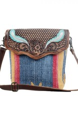 - Blue Feather Hand-Tooled Bag
