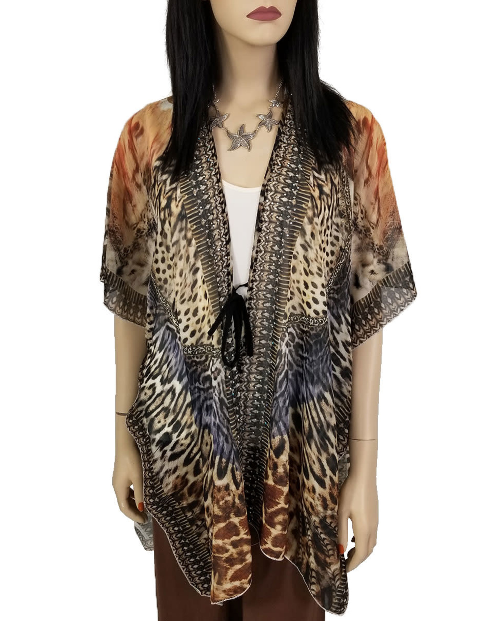- Orange Animal Print Kimono w/Bling Detail