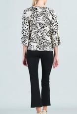 - Taupe Palm Animal Print 3/4 Sleeve Top w/Side Tie