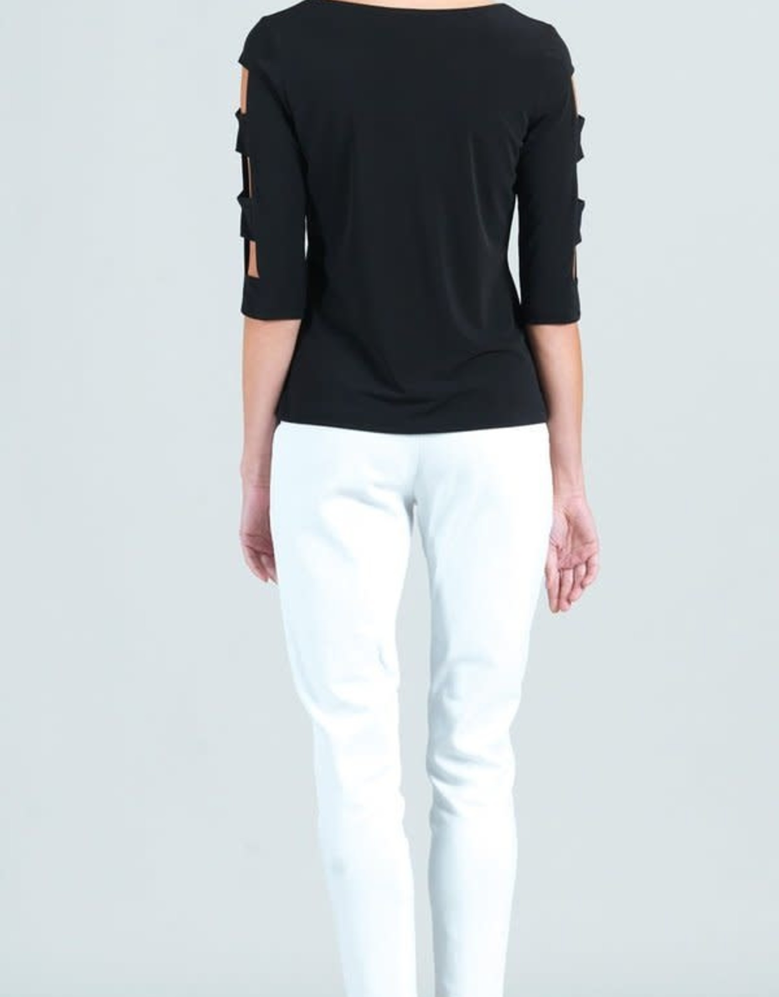 - Black Ladder Sleeve 3/4 Sleeve Top