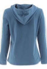 - Blue Hoodie w/Striped Arm Detail