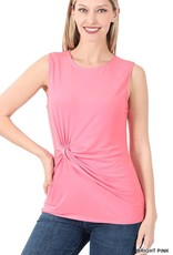 - Bright Pink Tank w/Knot Front