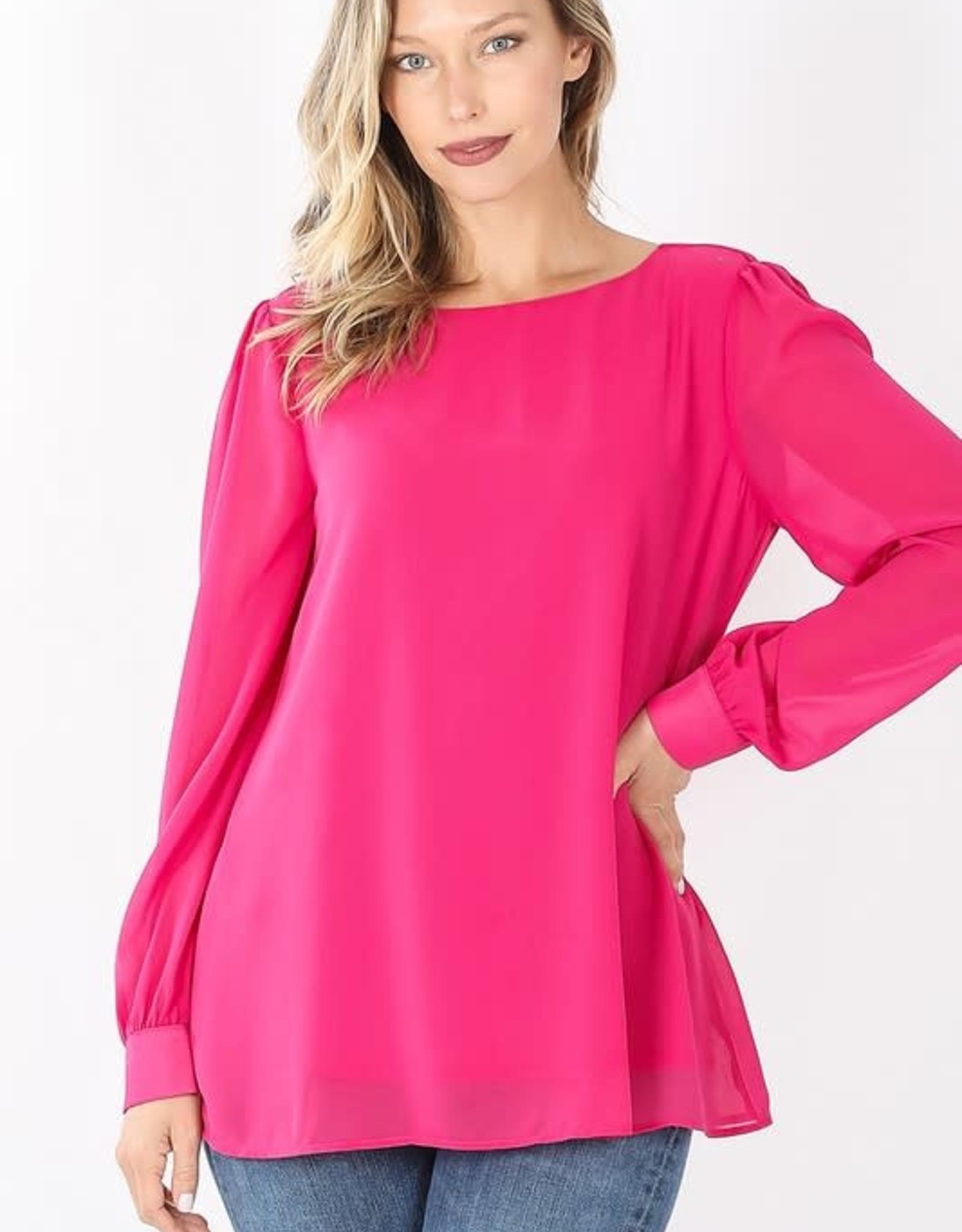 - Hot Pink Long Sleeve Chiffon Blouse