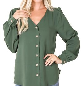 - Army Green Chiffon Button Front Top