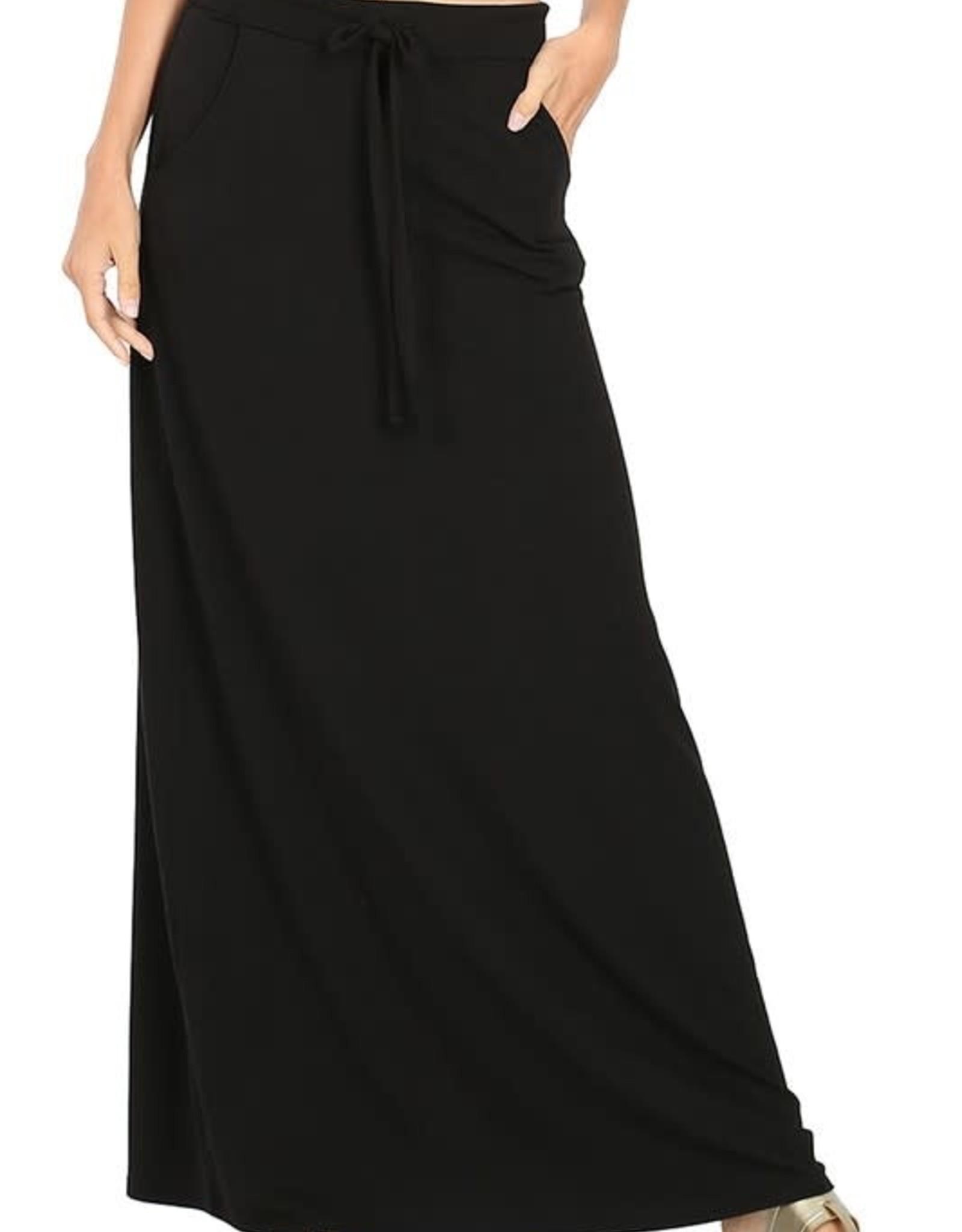 - Black Maxi Skirt w/Drawstring & Pockets