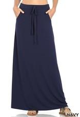 - Navy Maxi Skirt w/Drawstring & Pockets