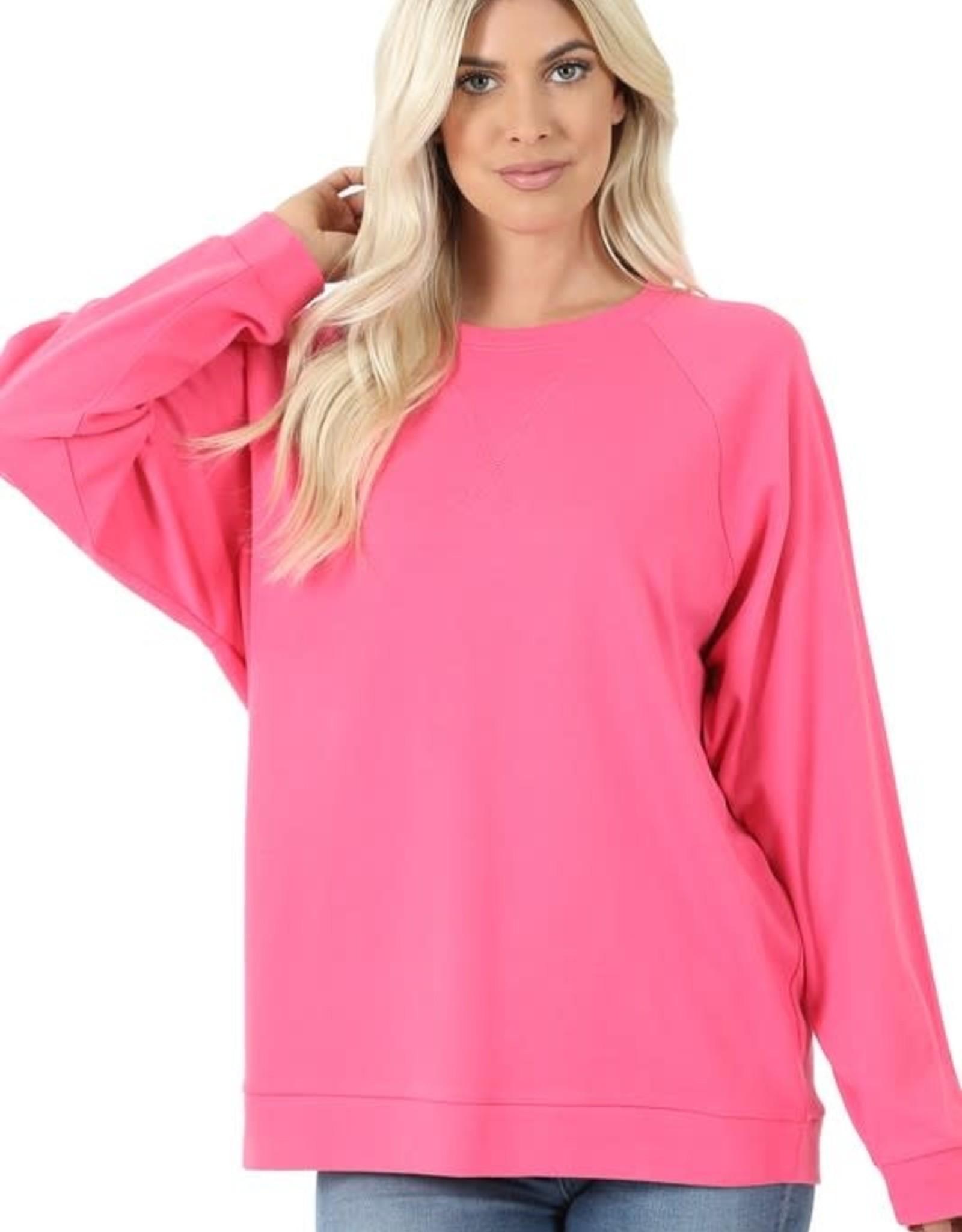 - Fuchsia Raglan Sleeve Cotton Pullover
