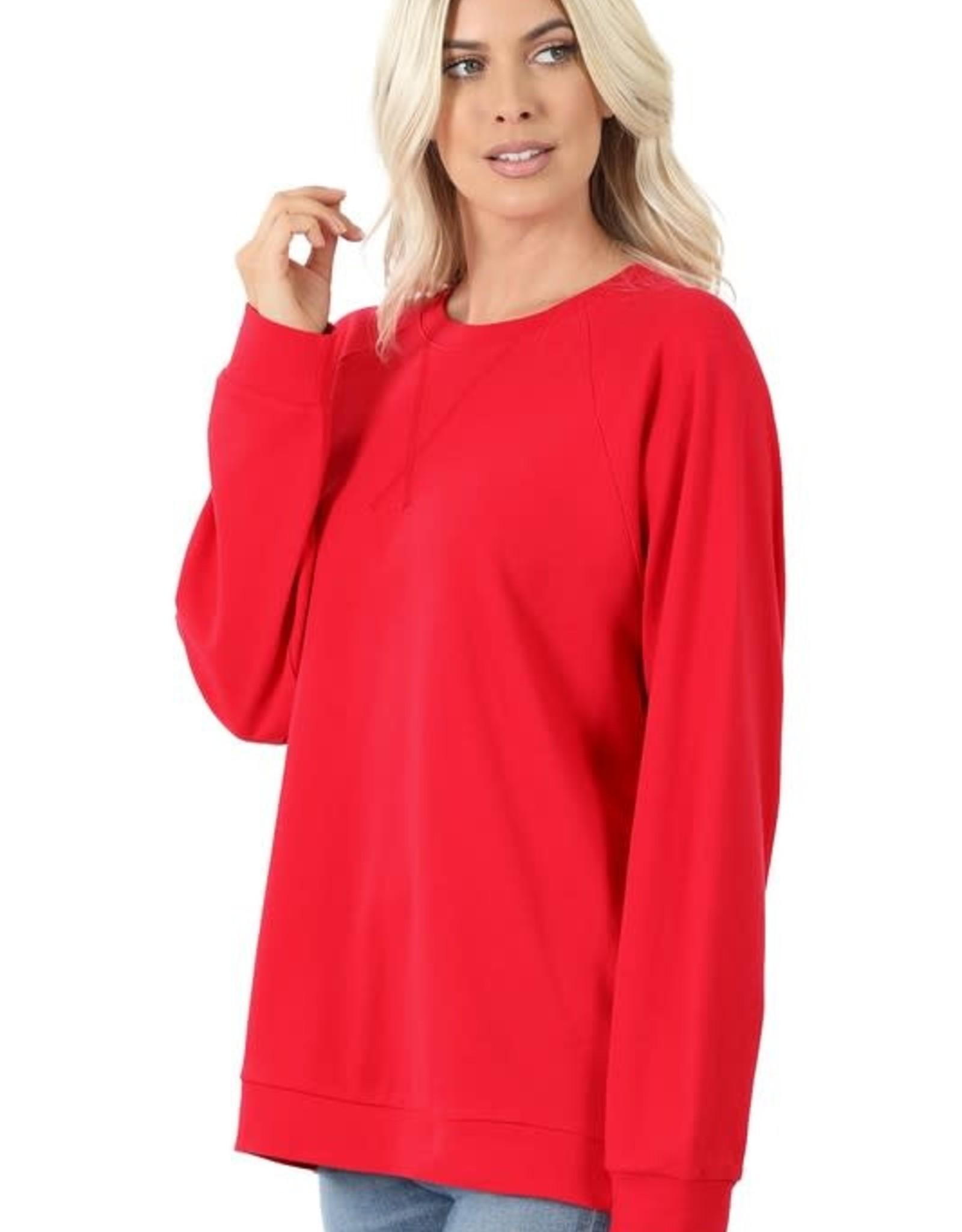 - Ruby Raglan Sleeve Cotton Pullover