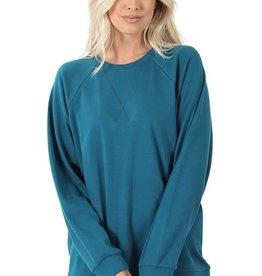 - Teal Raglan Sleeve Cotton Pullover