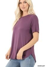 - Eggplant Short Sleeve High/Low Hem Top