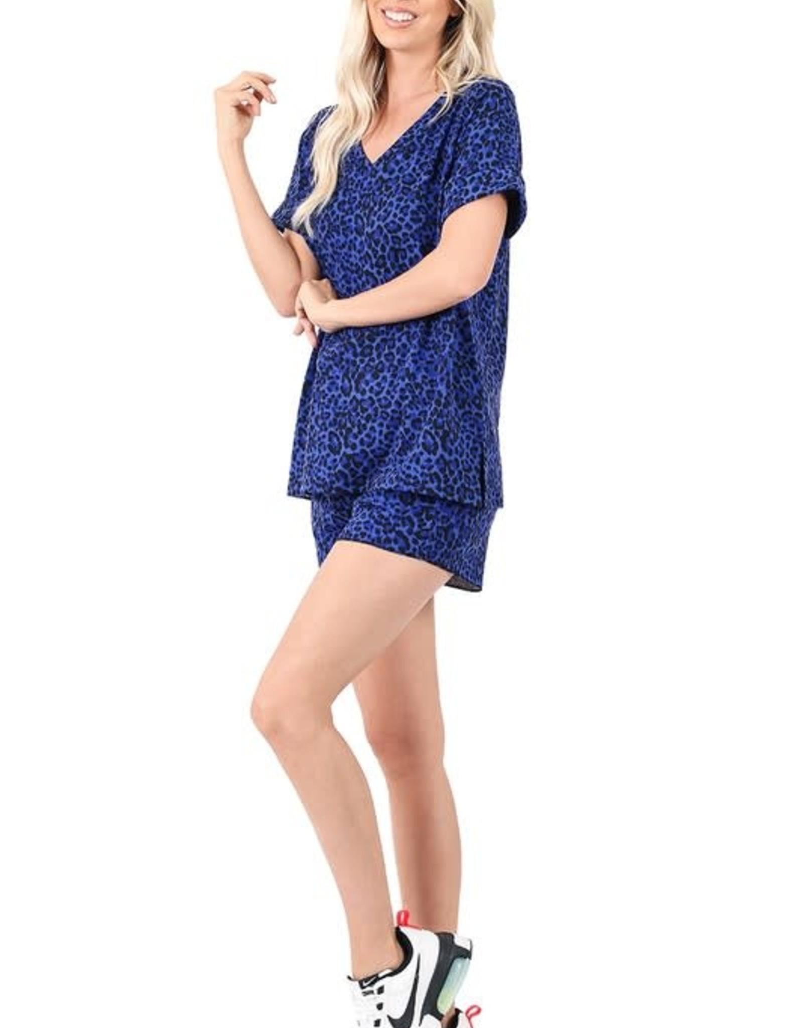 - Royal Blue Animal Print Top + Shorts Set