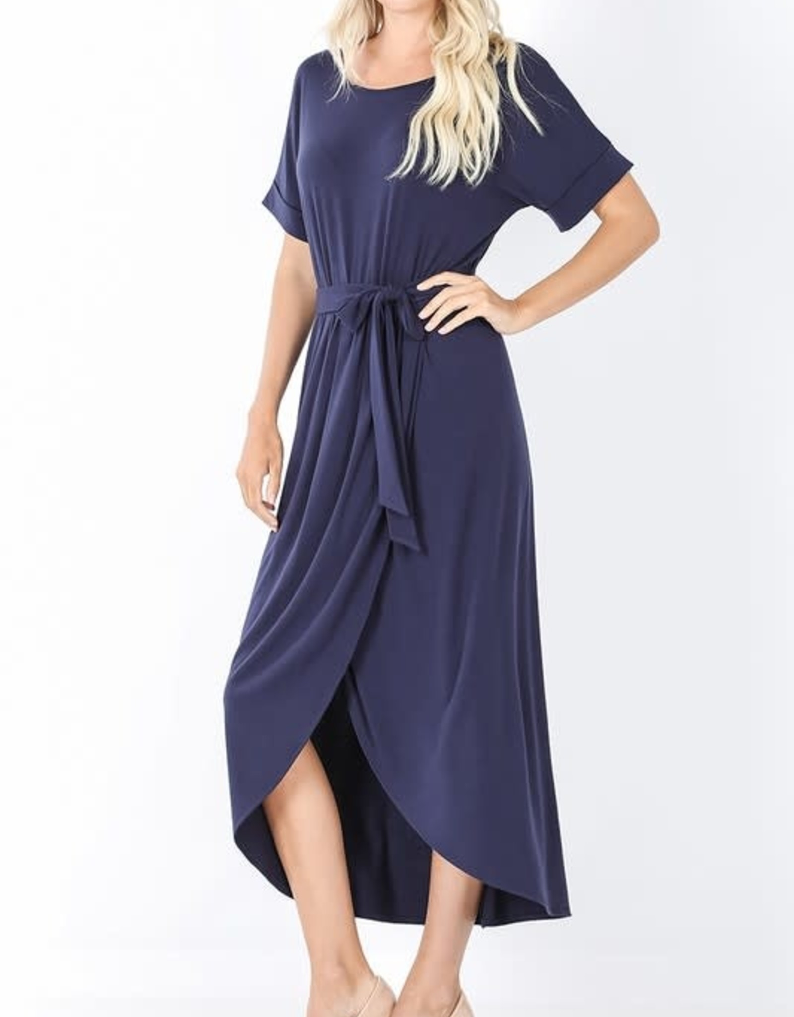 - Navy Short Sleeve Wrap Dress