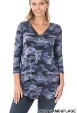 - Navy Camo 3/4 Sleeve V-Neck Top