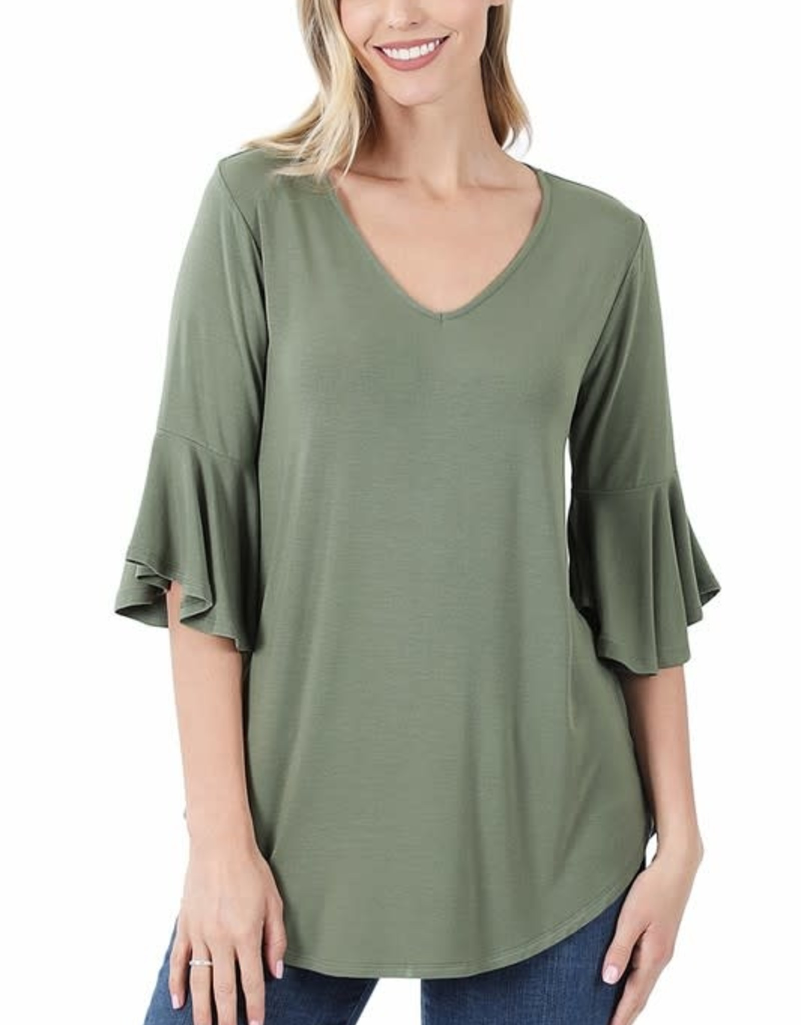 - Light Olive Waterfall Sleeve Top