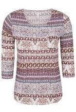 Tribal Multi Colored Print 3/4 Sleeve Top w/Side Pocket