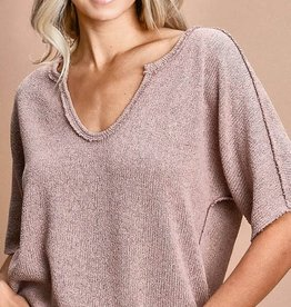- Blush Loose Fit Sweater Top w/Contrast Stitching
