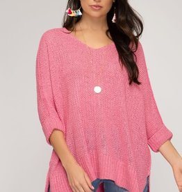 - Pink Hi/Low 3/4 Sleeve Knit Sweater