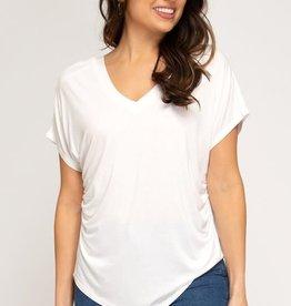 - Off White Drop Shoulder Rouched V-Neck Top