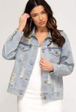 - Washed and Distressed Denim Jacket