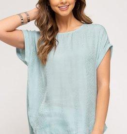 - Seafoam Drop Shoulder Woven Top w/Animal Print